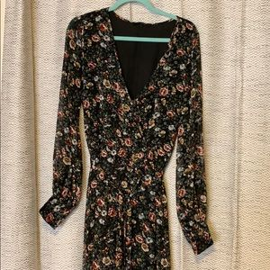 Floral black high-low sheer partially lined dress